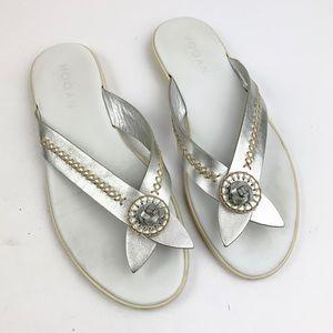 Hogan Silver Leather Comfort Thong Sandal 9.5
